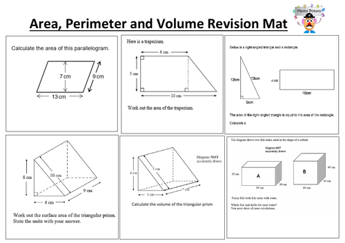 Area, Volume and surface area Foundation GCSE revision mat