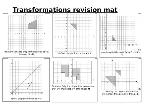 Transformations Foundation GCSE revision mat