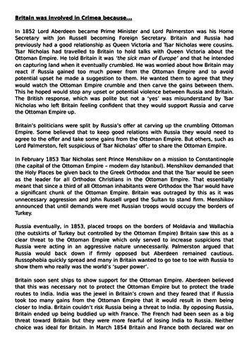 Depth 2 - The Crimean War - 'The British experience of warfare 1790-1918'