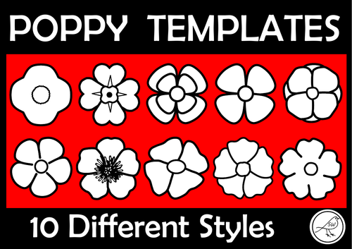 Poppy Templates - Anzac Day, Armistice Day, Remembrance Day, War Remembrance