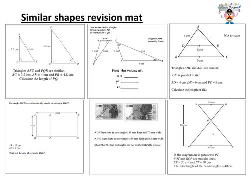 Similar shapes higher/foundation GCSE revision mat