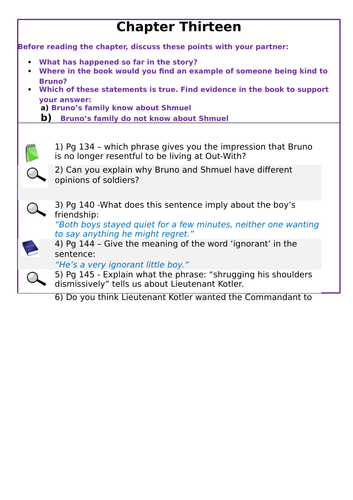 KS2 SATs- Teaching of Reading - Boy in Striped Pyjamas - Chapter 13
