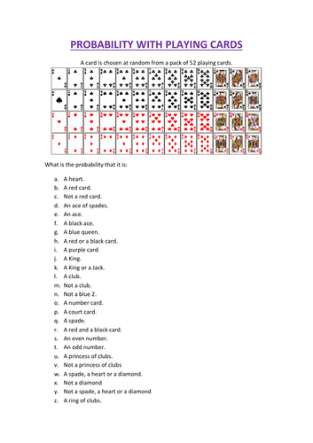 Calculating probability with playing cards by sara-turner