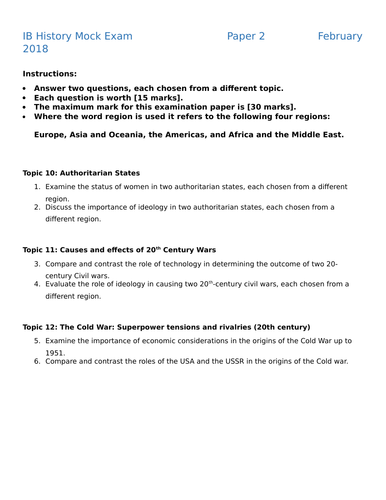 History IB Mock Exam (P1, P2,P3) by jamesfoconnor | Teaching