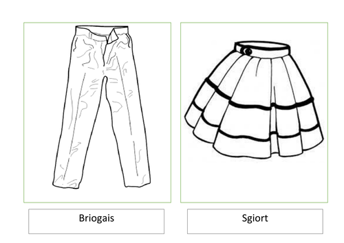 Gaelic clothes flash cards