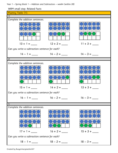 Year 1 - Spring block 1 - Addition and Subtraction within 20  (Week 4)