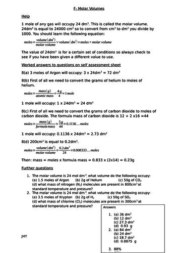 Quantitative chemistry worksheets