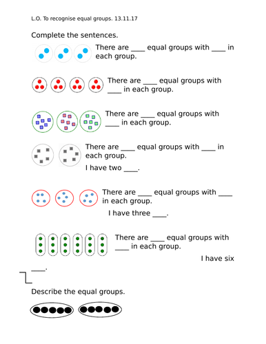 Identifying, making and adding equal groups, Year 2, worksheets