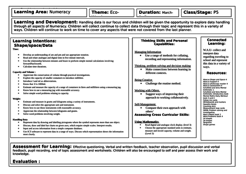 Numeracy Planners September - June Primary 5