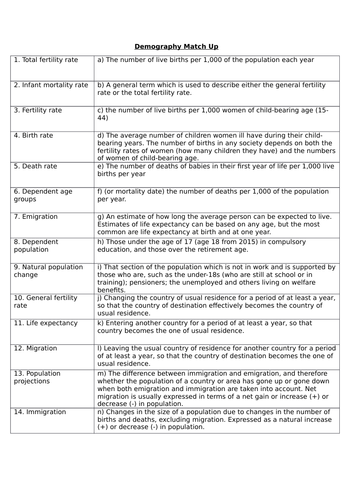 AQA AS Sociology- Families & Households: Demography