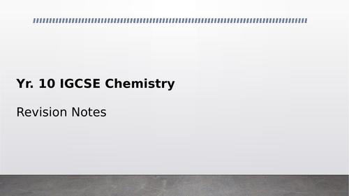 IGCSE Chemistry Revision Resource (CIE 2019 Syllabus)