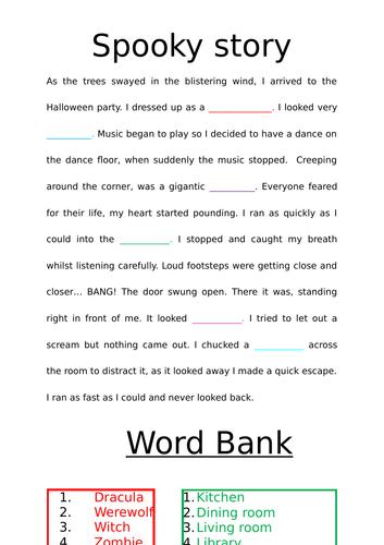 Cloze procedure spooky story writing for SEN.