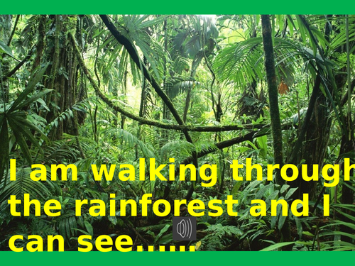 Jungle 'I can see' writing power point with music. PHONICS FUN WRITING EYFS/KS1