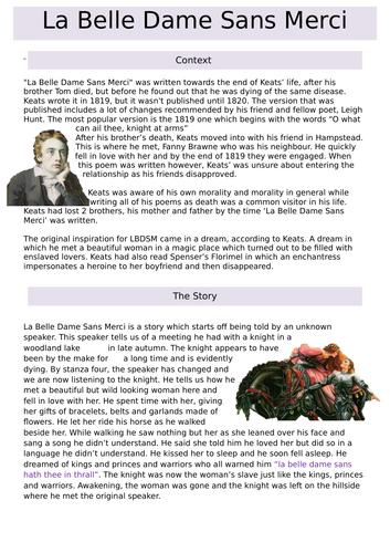 La Belle Dame Sans Merci Revision Notes