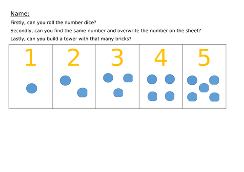 number correspondence, number recognition 1-10, introduction to numicon shapes