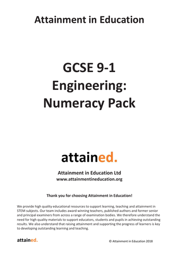 NEW GCSE Engineering (9-1) Numeracy Pack