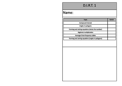 Higher Maths D.I.R.T. Worksheets (6 worksheets)