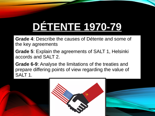 Detente and the SALT treaties. GCSE Cold War and Superpower relations.