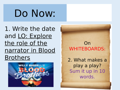 Blood Brothers Lesson on The Narrator (AQA)