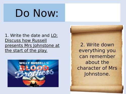 Blood Brothers Lesson on Mrs Johnstone/ Marilyn Monroe (AQA)