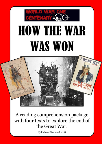 World War One Reading:  Armistice 2018. Comprehension Package.