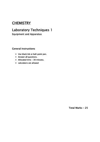 Laboratory Chemistry 1 / Equipment and Apparatus Year 7/8/9