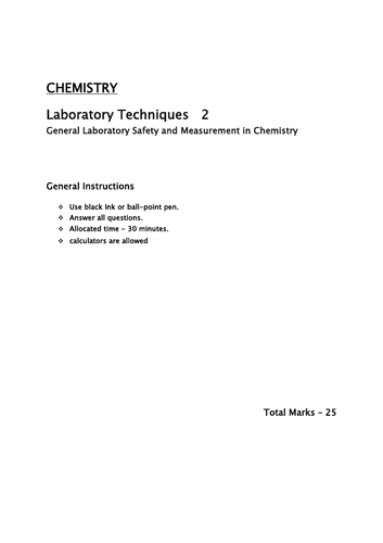 Laboratory Chemistry 2/ General safety and Measurements Year 7/8/9