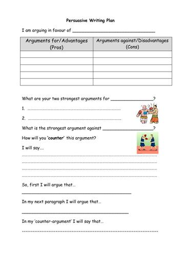 Persuasive Writing Plan