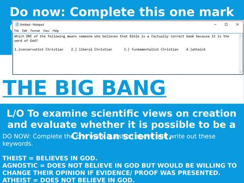 AQA NEW 8062 RELIGION AND LIFE LESSON TWO BIG BANG