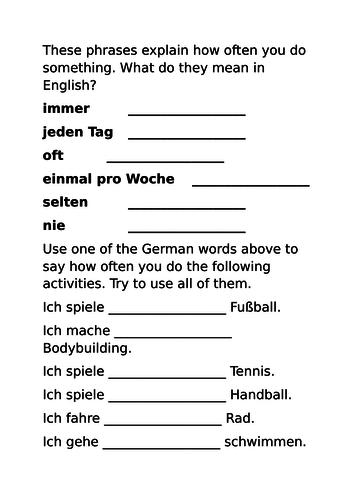 Secondary German resources: sports