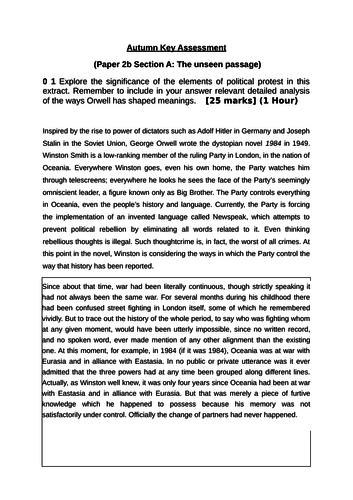 AQA Literature B Paper 2b Unseen Passage from '1984'.