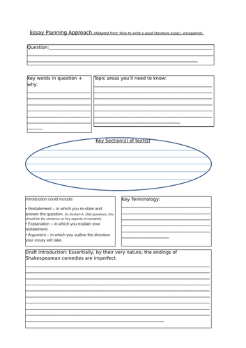 Essay Planner Sheet for A Level