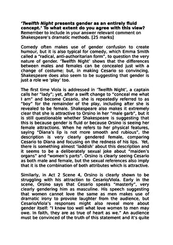 Example Essay: Gender in 'Twelfth Night'