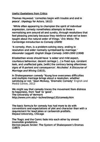 Quotations from critics on the comedy genre. AQA Lit B Paper 1b