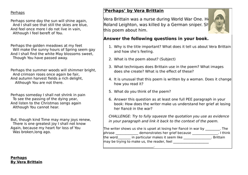 Independent Task for Vera Brittain's 'Perhaps'