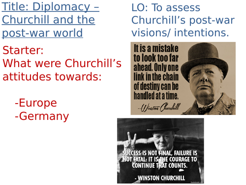 OCR A-Level History Unit 1 Y113 - Lesson 24 - Churchill and post-war Europe