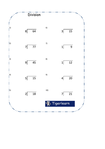 10 simple division questions worksheet with answers by