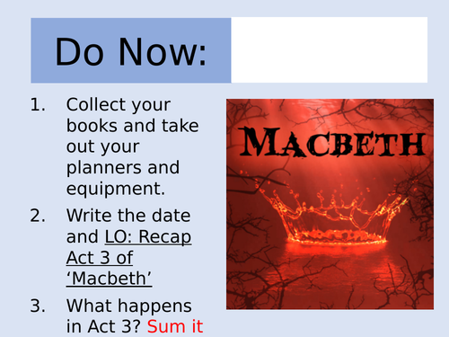 Macbeth: Act 3 Revision Lesson and Worksheet