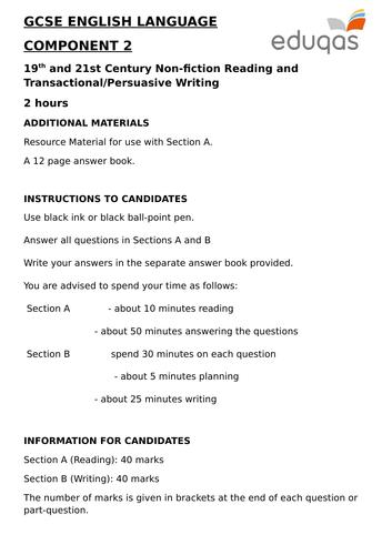 MORE EDUQAS GCSE ENGLISH LANGUAGE COMPONENT 2 PRACTICE EXAMINATION PAPERS (NON-FICTION and TRANSACTI