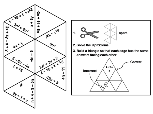 Combining Like Terms Game: Math Tarsia Puzzle by