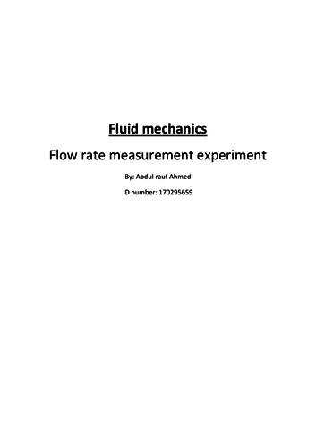 Chemistry Fluid mechanics - Flow rate measurement experiment