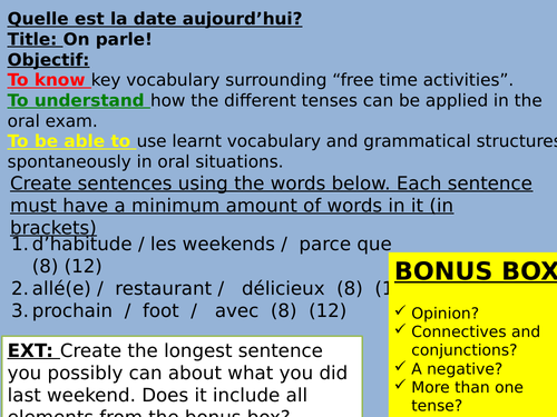 French Key Stage 4 Speaking lesson (photo description + dialogue)
