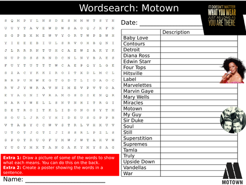 Motown Wordsearch Puzzle Sheet Keywords Settler Starter Cover Lesson Music  Genre