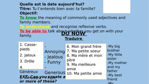 French KS4 Family lesson - Tu t'entends avec ta famille?