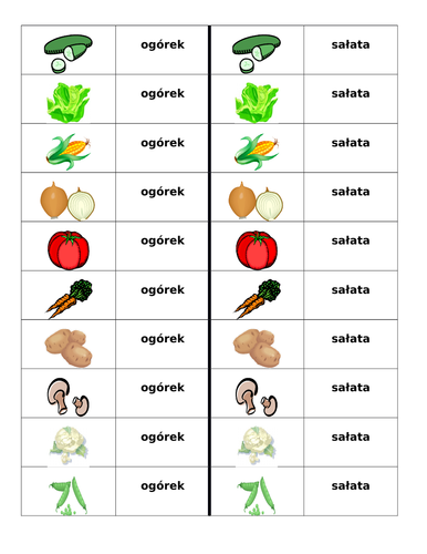 Warzywa (Vegetables in Polish) Dominoes