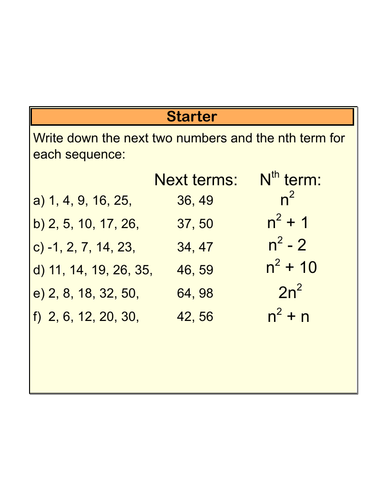 Full lesson on finding the Nth term of quadratic sequences