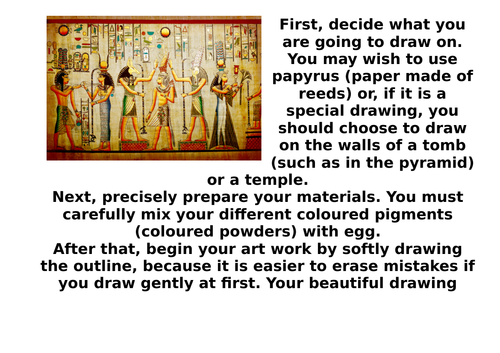 Instructions example text - drawing like an Ancient Egyptian