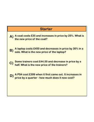 Full lesson on finding percentages of amounts using a multiplier