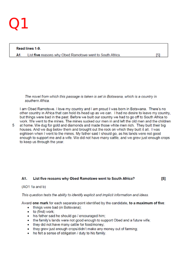 EDUQAS GCSE English Language Paper 1 - Model answers bundle