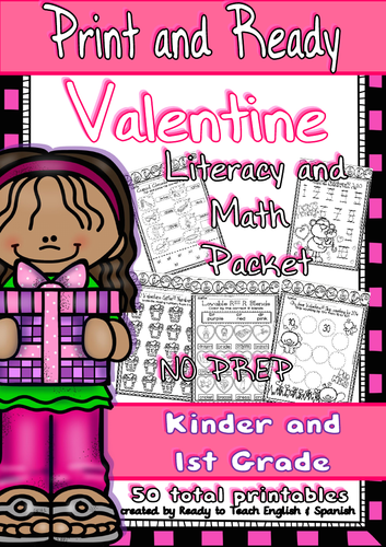 Valentine - Print and Ready - Literacy and Maths Packet/ Kinder-1st Grade (54 pages)
